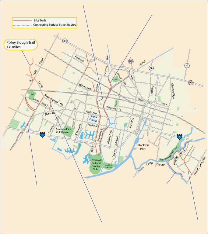 map of bike trails in Stockton, CA