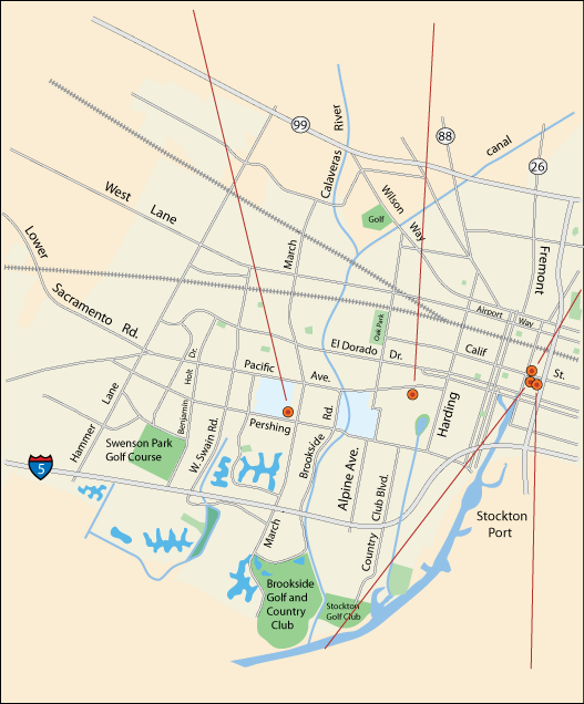 map of local coffee shops in Stockton, CA