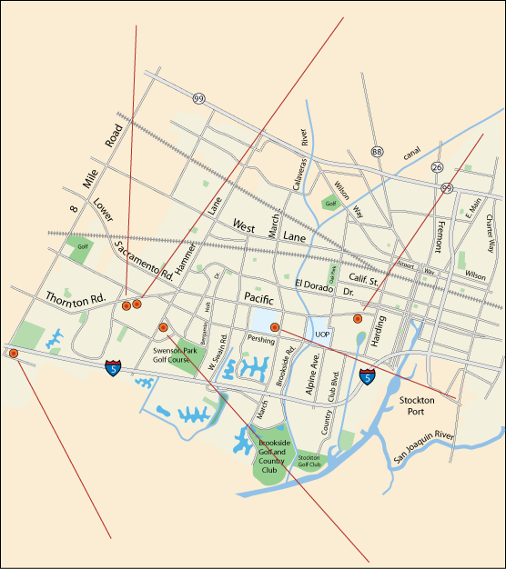 map of craft and hobbie shops  in Stockton, CA