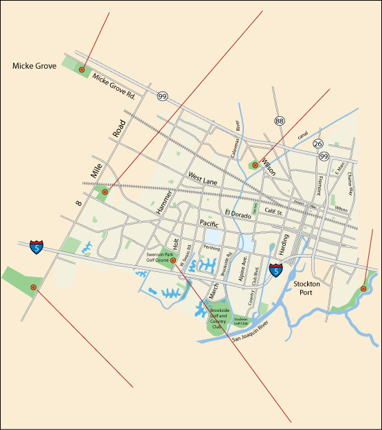 map of children's venues in Stockton, CA