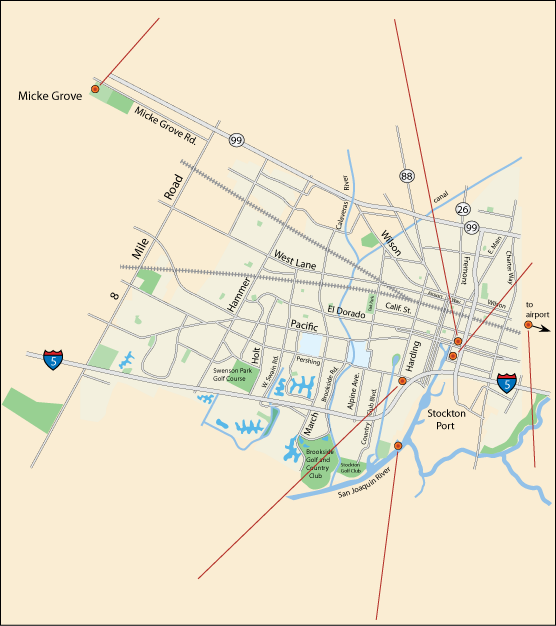 map of museums in Stockton, CA