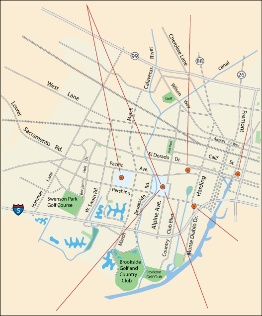 map of concert and music venues in Stockton, CA