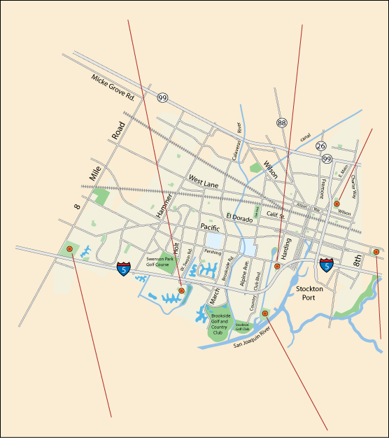 map of parks in Stockton, CA