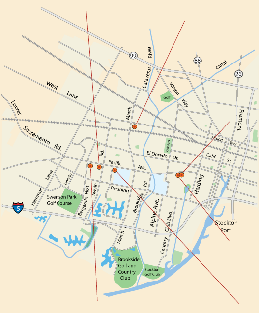 map of one-of-a-kind shops in Stockton, CA