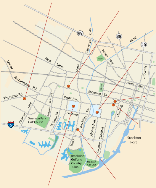 map of live stage theatre productions in Stockton, CA