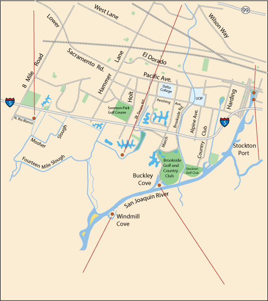 map of Stockton waterfront locations, CA